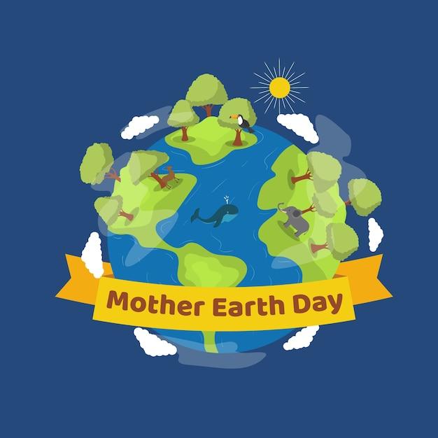 Płaska Matka Dzień Ziemi Płaski Kształt Darmowych Wektorów