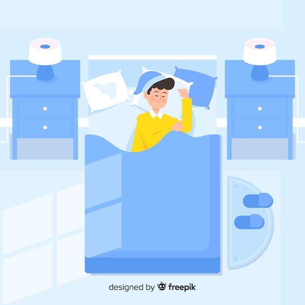 Płaska osoba śpi w nocy w tle łóżko Darmowych Wektorów