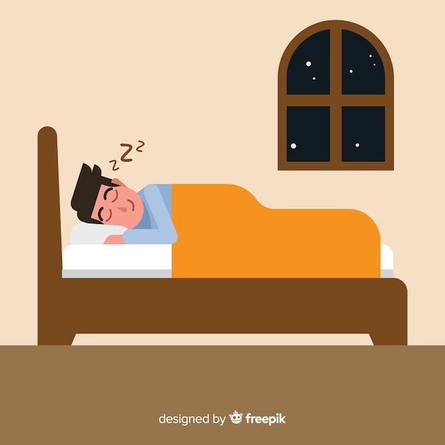 Płaska Osoba śpi W Tle łóżko Darmowych Wektorów