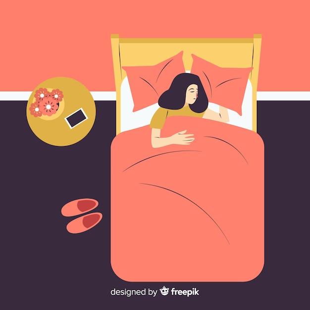 Płaska osoba śpiąca w łóżku Darmowych Wektorów