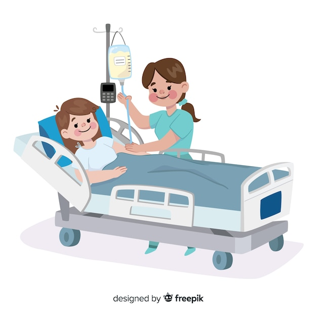 Płaska pielęgniarka z pacjentem Darmowych Wektorów