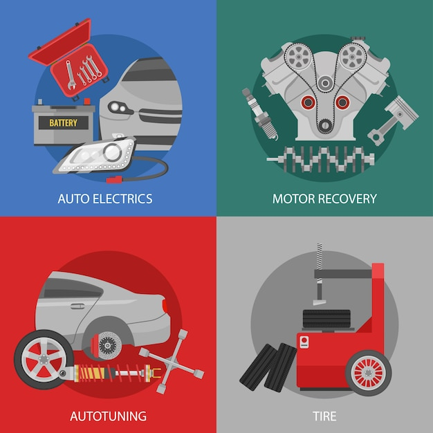 Płaska Profesjonalna Kompozycja Kwadratowa Naprawy Samochodów Z Tuningiem Automatycznego Odzyskiwania Silnika Elektrycznego I Usługami Opon Darmowych Wektorów