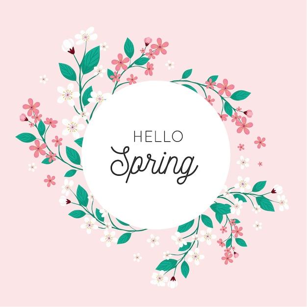 Płaska Rama Kwiatowy Wiosna Darmowych Wektorów