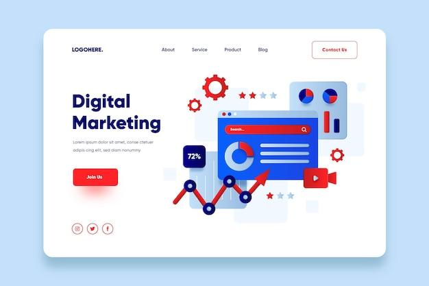 Płaska Strona Docelowa Marketingu Online Darmowych Wektorów