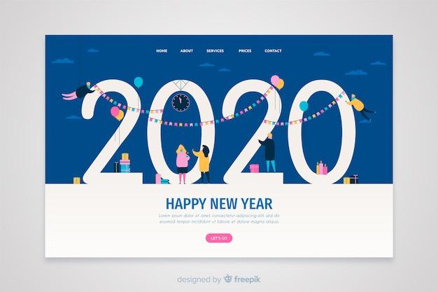 Płaska strona docelowa nowego roku Darmowych Wektorów