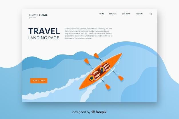 Płaska Strona Docelowa Podróży Premium Wektorów