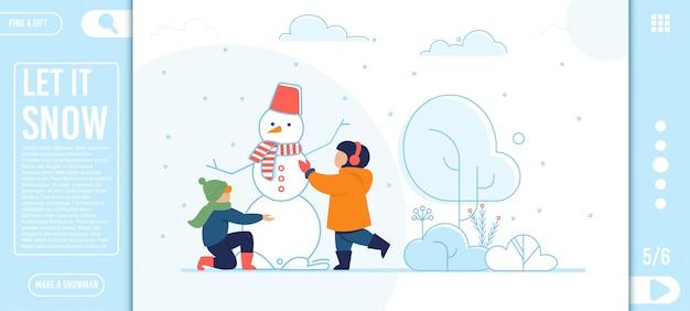 Płaska strona docelowa z happy kids making snowman Premium Wektorów