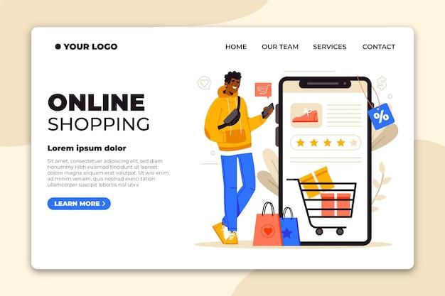 Płaska Strona Docelowa Zakupy Online Darmowych Wektorów