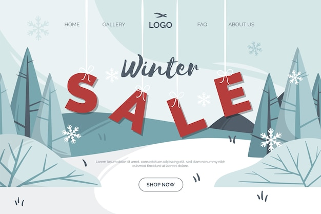 Płaska strona docelowa zimowej sprzedaży Darmowych Wektorów