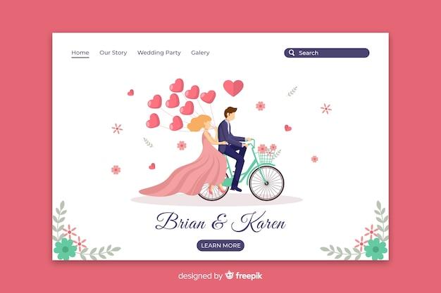 Płaska strona ślubna para Darmowych Wektorów