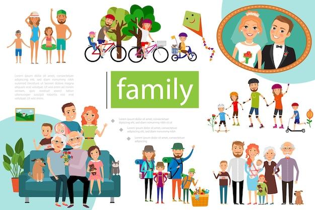 Płaska Szczęśliwa Rodzina Z Ojcem, Matką I Dziećmi O Ilustracji Zdrowego Stylu życia Darmowych Wektorów
