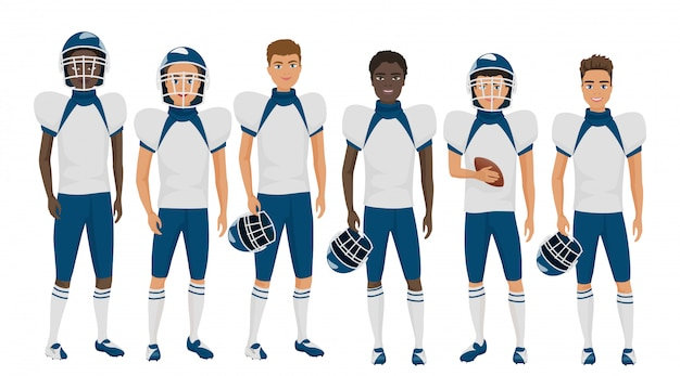 Płaska Szkoła Futbol Amerykański Zespół Młodych Facetów W Mundurze Na Białym Tle. Premium Wektorów