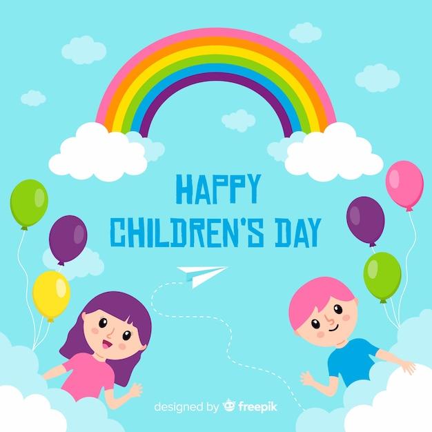 Płaska tapeta na dzień dziecka Darmowych Wektorów