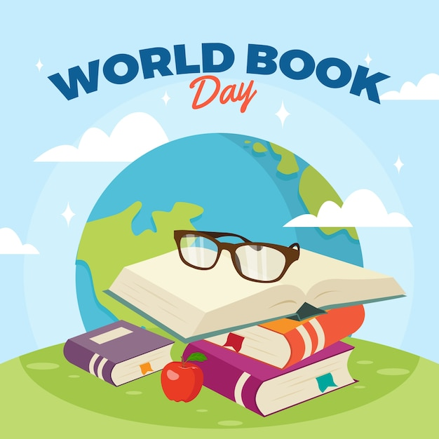 Płaska Tapeta światowy Dzień Książki Tapeta Darmowych Wektorów