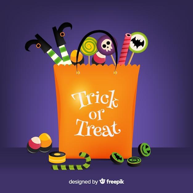 Płaska Torba Halloween Wypełniona Słodyczami Darmowych Wektorów