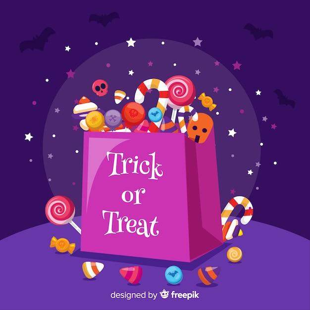 Płaska torba na cukierki halloween Darmowych Wektorów