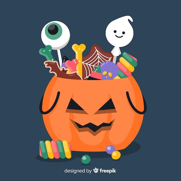 Płaska Torba Z Dyni Halloween Wypełniona Cukierkami Darmowych Wektorów