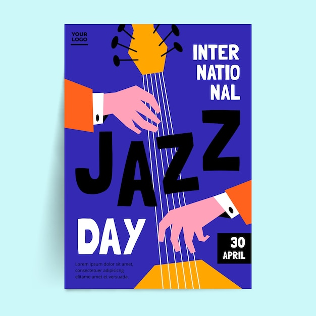 Płaska Ulotka Międzynarodowego Dnia Jazzu Darmowych Wektorów