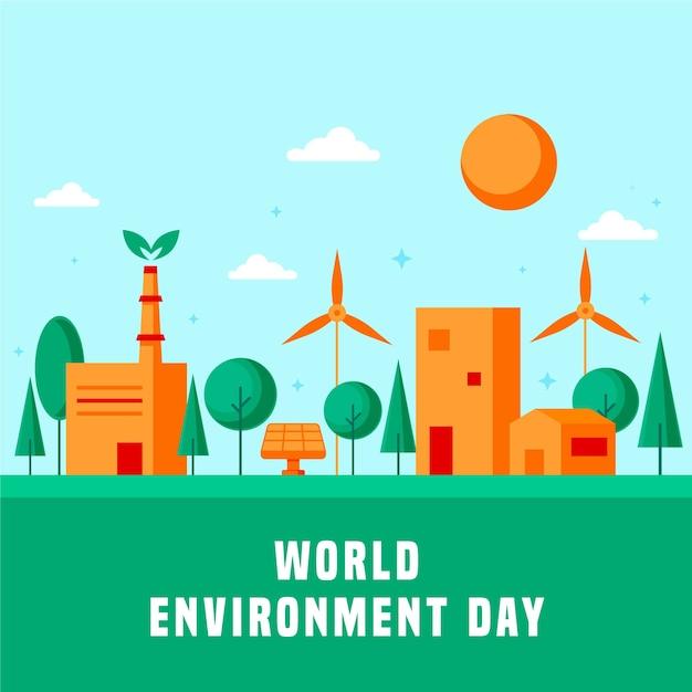 Płaska Uroczystość światowy Dzień środowiska Obchody Darmowych Wektorów