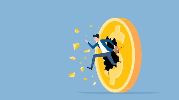 Płaska wektorowa ilustracja biznesmen prędkości bieg przełom do dolara monety pieniądze pojęcia Premium Wektorów