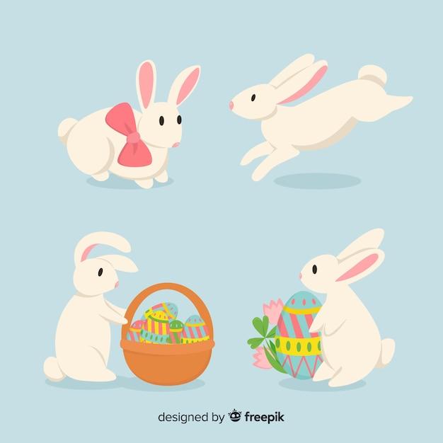 Płaska wielkanocna kolekcja króliczek Darmowych Wektorów