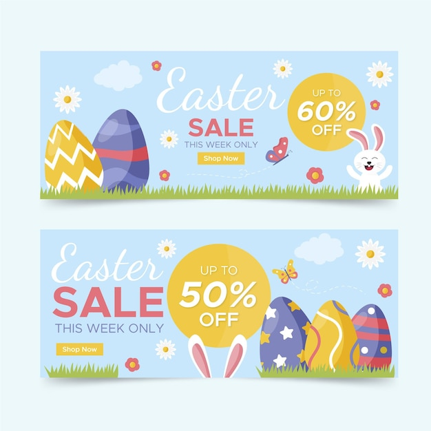 Płaska Wielkanocna Sprzedaż Pozioma Kolekcja Banerów Darmowych Wektorów
