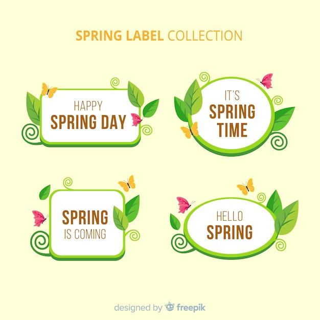 Płaska wiosna odznaka kolekcja Darmowych Wektorów