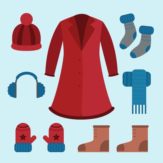 Płaska Zimowa Odzież I Niezbędne Artykuły Darmowych Wektorów