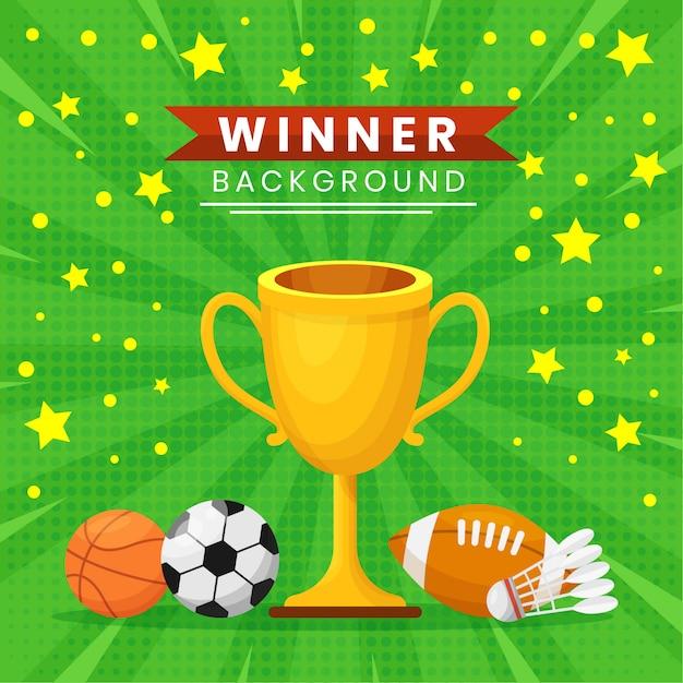Płaska Zwycięzca Ilustracja Z Trofeum Dla Turnieju Sportowego I Rywalizacji Premium Wektorów