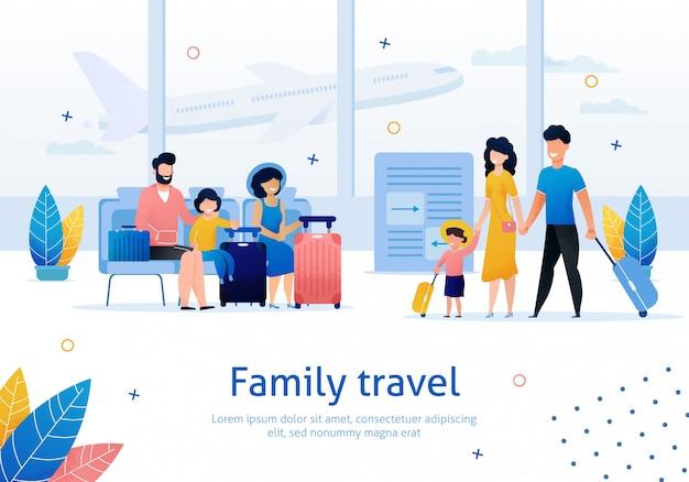 Płaski baner podróży rodzinnych Premium Wektorów
