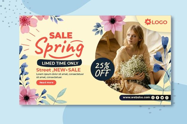 Płaski Baner Sprzedaży Wiosny Darmowych Wektorów