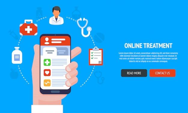 Płaski Baner Strony Internetowej Z Usługami Medycznymi Dla Banerów Internetowych, Marketingowych I Drukowanych Premium Wektorów