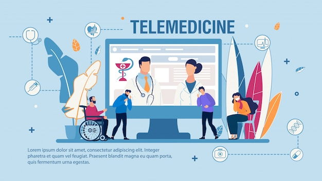 Płaski Baner Telemedycyny I Wysokiej Jakości Pomocy Medycznej Premium Wektorów