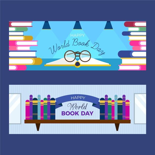 Płaski Banery światowy Dzień Książki Darmowych Wektorów