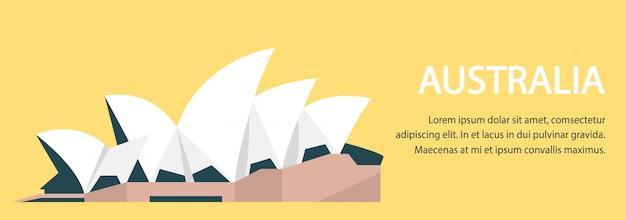 Płaski Banner Poziomy Australii Premium Wektorów
