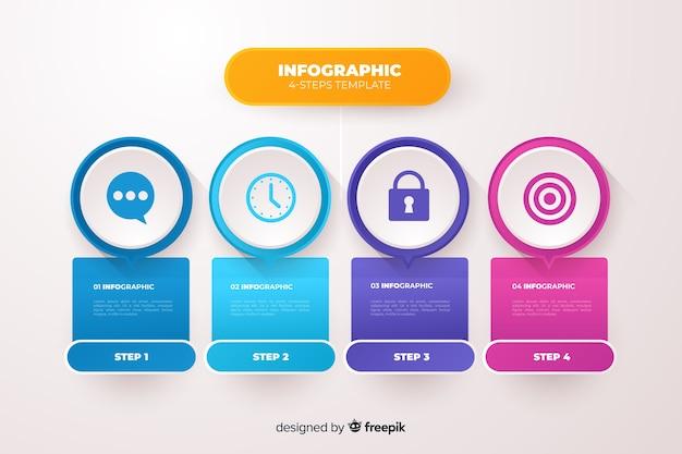 Płaski biznes infografiki kroki szablon Darmowych Wektorów