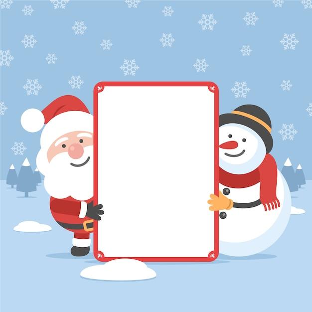 Płaski Boże Narodzenie Charakter Trzyma Biel Pustą Kartę Darmowych Wektorów