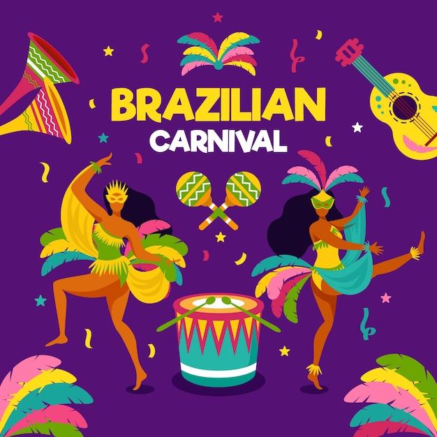 Płaski Brazylijski Karnawał Z Tancerzami I Muzyką Darmowych Wektorów