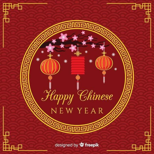 Płaski chiński nowy rok 2019 tło Darmowych Wektorów