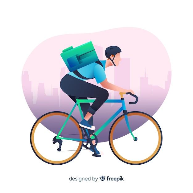 Płaski chłopiec dostawy na tle roweru Darmowych Wektorów