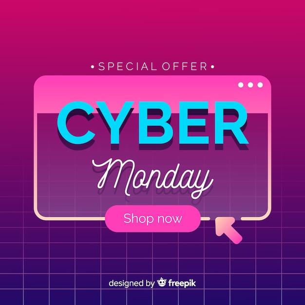 Płaski Cyber Poniedziałek Na Retro Futurystycznym Tle Darmowych Wektorów