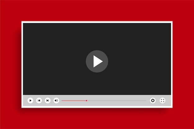 Płaski, Czysty, Nowoczesny Szablon Odtwarzacza Wideo Darmowych Wektorów
