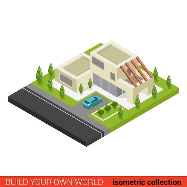 Płaski D Izometryczny, Kreatywny, Nowoczesny, Stylowy Dom Rodzinny Parking Samochodowy Premium Wektorów