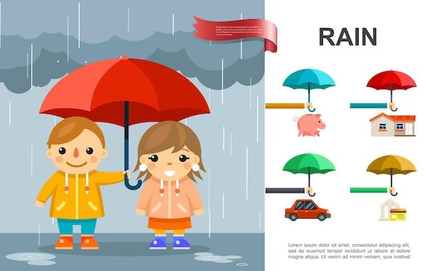 Płaski Deszcz Jasny Z Dziećmi Z Parasolem Stojącym Pod Deszczem I Ilustracją Elementów Nieruchomości Darmowych Wektorów