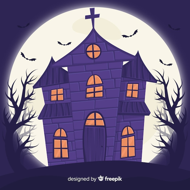 Płaski Dom Halloween I Za Nim Pełnia Księżyca Darmowych Wektorów
