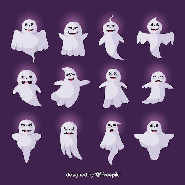 Płaski Duch Halloweenowy Z Zewnętrzną Kolekcją Blasku Darmowych Wektorów