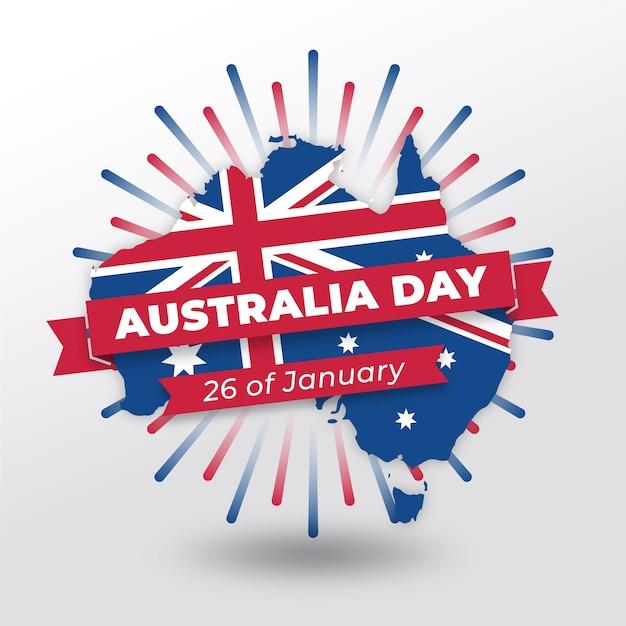 Płaski Dzień Australii Z Mapą I Datą Darmowych Wektorów