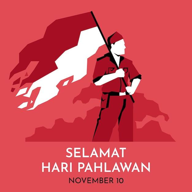Płaski Dzień Bohaterów Pahlawan Premium Wektorów