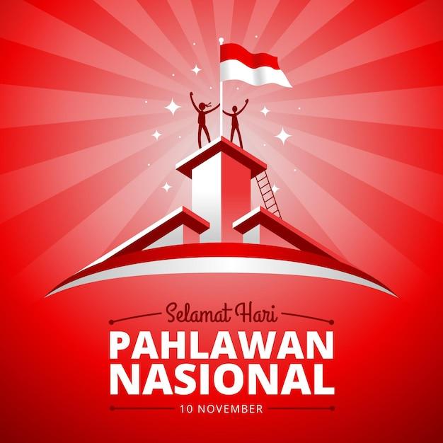 Płaski Dzień Bohaterów Pahlawan Darmowych Wektorów