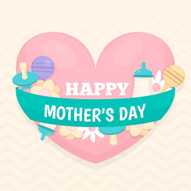 Płaski Dzień Matki Ze Smoczkiem Darmowych Wektorów
